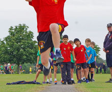 Shell boy highjump on shell sports day