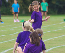 Shell girls in relay run sports day 2017