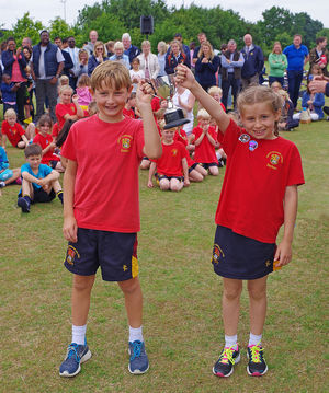 Shell sports day winning house with trophy
