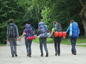 Dofe group walking with rucksacks