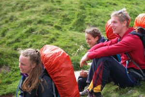 DofE students resting in Peak District