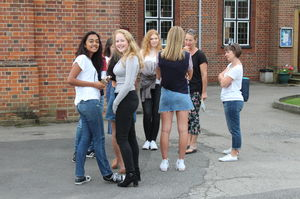 Pupils enjoying GCSE results day 2017