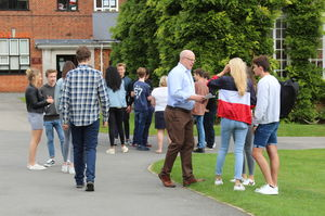 Pupils meeting on GCSE Results Day 2017