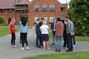 Pupils Chatting on GCSE Results Day 2017