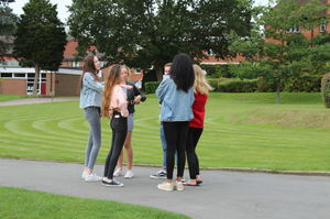 GCSE pupils meet on Results Day 2017