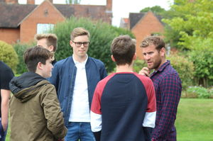 Charlie Beckley chatting to GCSE pupils on results Day