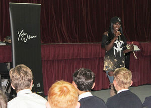 Yinka Williams with U3 pupils cyber-bullying workshop
