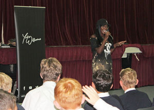 Yinka Williams with U3 pupils in cyber-bullying workshop