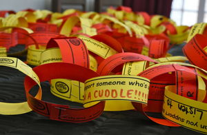 Place 2 Be charity day chain with messages