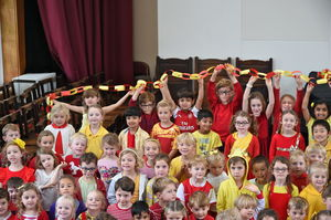 Pre-Prep pupils with chain on Whole College Charity Day
