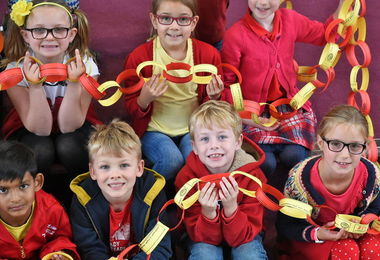 Pre-Prep pupils holding chain Charity Day 2017