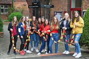 Sixth Formers with chain on Whole College Charity Day