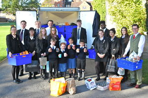 Senior School Harvest Festival Pupils with Parcels 2017