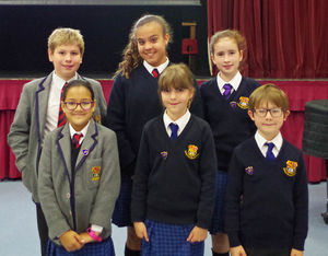 Prep school councillors with badges