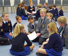 Prep school pupil councillors in hall