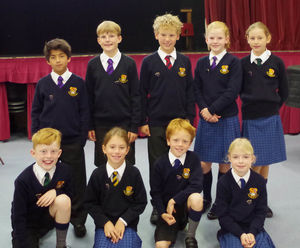 Prep school pupil councillors with badges