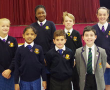 Prep school pupil councillors with their badges