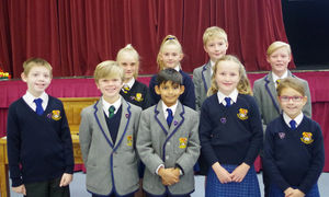 Prep school pupil councillors with their medals