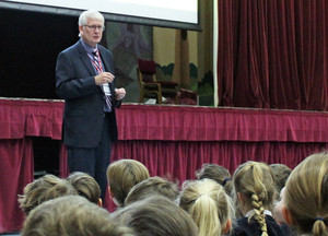 Councillor tim page with prep school pupils