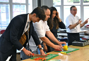 U5 pupils learning to cook from Catering Team