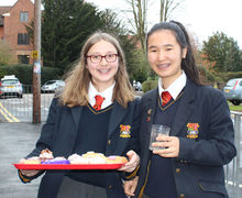 Benson girls with cakes for charity week