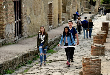 Fifth Form pupils enjoying Latin Trip to Pompeii