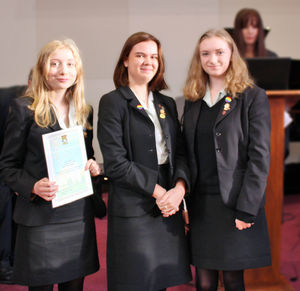 Tee House Girls receiving Anti-Bullying Certificate