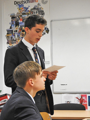 Senior school boys at mfl debate at the perse