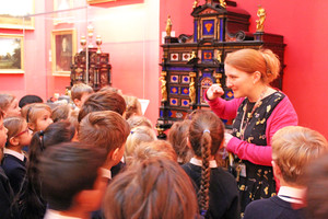 Lower shell pupils listening at fitzwilliam museum