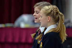 Prep School girls in music concert, singing