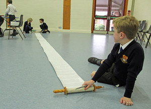 Upper Shell pupils with scroll at jewish workshop