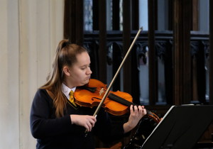 Billianna on violin in St Michael's Church