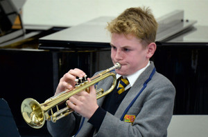 Prep School musician playing the trumpet