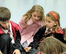 Pupils dressed up for Prep School Harry Potter Night