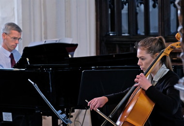 Mary playing cello in St Michael's Church Recital