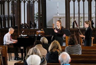 Ailsa on bassoon in St Michael's Church Recital