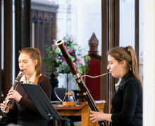 Ailsa and Mary performing in St Michael