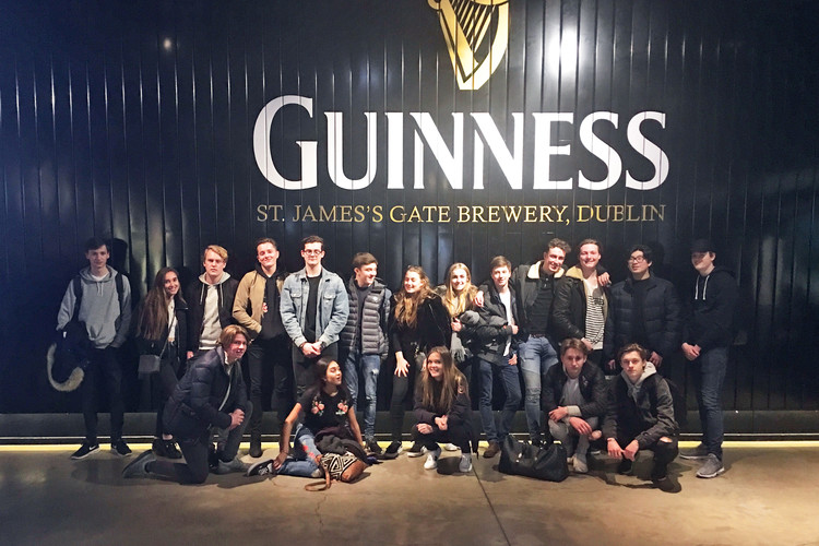 U6 business students outside guiness in dublin