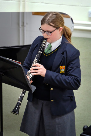 Girl on clarinet in 4th Form Concert