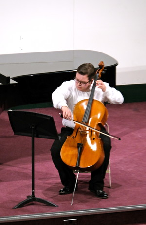 Cameron Smith on cello in Hanbury Wealth Recital