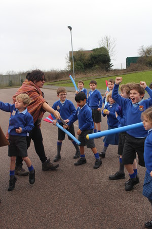 Year 2 pupils fighting Lower Shell Romans