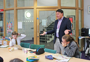 John Gordon Reid with Form 2 Curiosity Club pupils