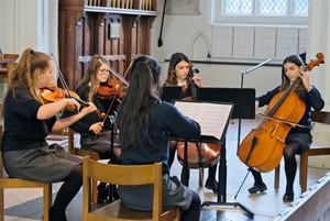 Pupils performing chamber concert in St Michael's Church