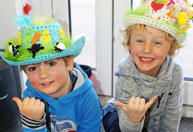 Pre-Prep boys with Easter Bonnets