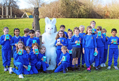 Pre-Prep pupils with eggs and Easter Bunny