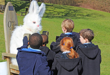 Pre-Prep pupils with Easter Bunny