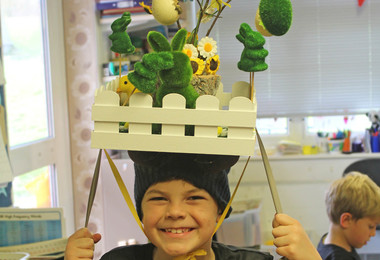 Pre-Prep boy with amazing Easter bonnet