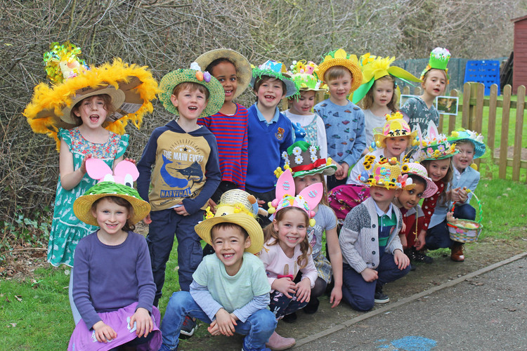 Pre-Prep pupil group with Easter Bonnets