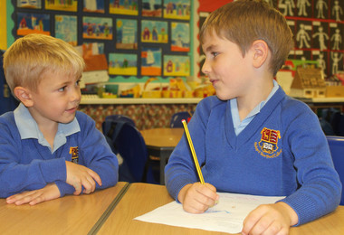 Year 1 boys in classroom