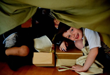 Hiding from Air Raids at Pre-Prep World War II Day